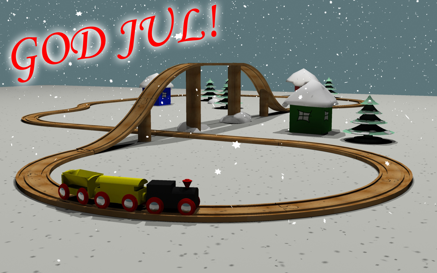 "A Christmas card image with a Brio wood toy train on tracks, surrounded by some simple buildings and trees covered in snow. It is also currently snowing and the word ""God Jul"" are written in the top left corner. ""God Jul"" translates to Merry Christmas"