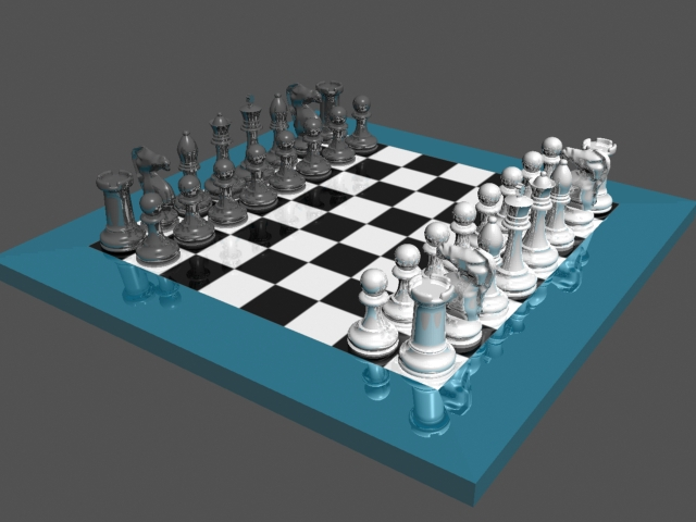 This image is a rendering of a chess board with blue edges and black and white squares. All the pieces are present and in their default starting position.