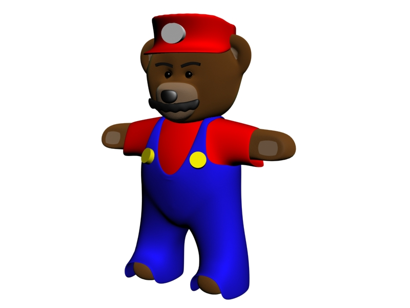 A 3D rendering of a teddy bear disguised as Super Mario