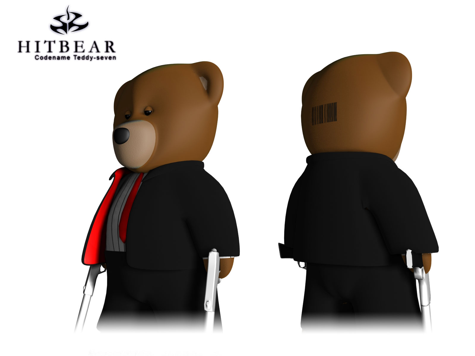 "Another pose of the Teddy Bear dressed and posed like hitman, from the games with the same name. In the top left corner it says ""Hitbear, Codename Teddy-seven"""