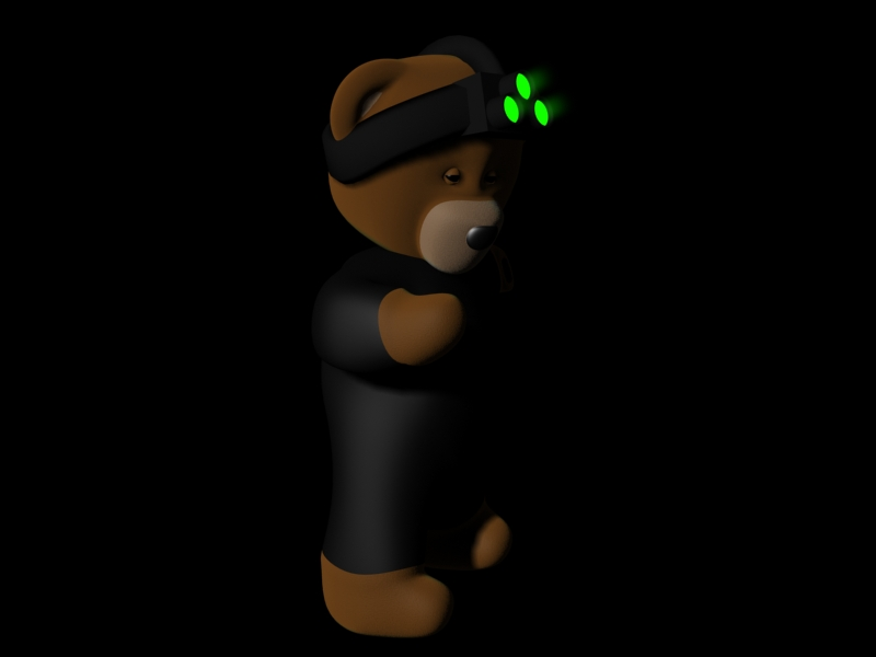 That same Teddy Bear dressed like Same Fisher, from the splinter cell games series.