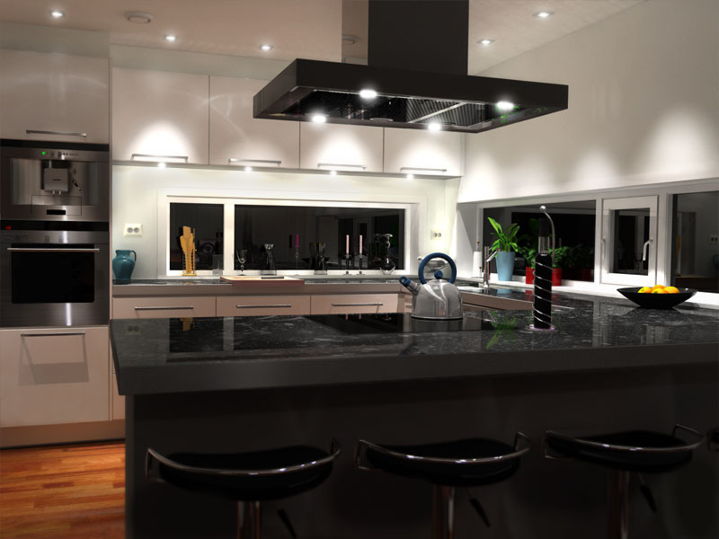A close to photo realistic 3D rendering of a kitchen.