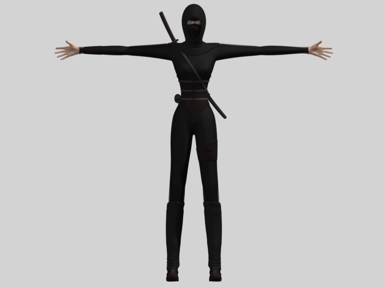 A female ninja in a T-pose seen from the front.