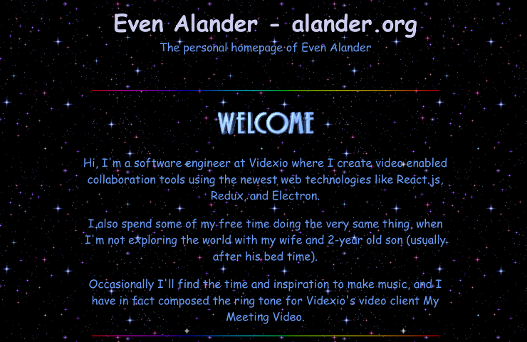 A screen shot of the new alander.org, click for full version